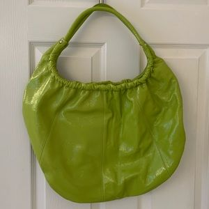 Hobo brand large chartreuse patent leather tote